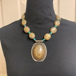 Handmade brown and teal necklace